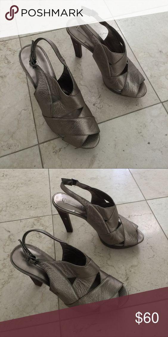 "BCBG Max Azria shoes Brushed metallic Gunmetal fabulous strapped 4 "" heel. Goes w everything BCBGMaxAzria Shoes Heels"