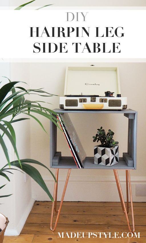 Diy Crate Side Table With The Hairpin Leg Co Made Up Style Crate Side Table Ikea Side Table Ikea Crates