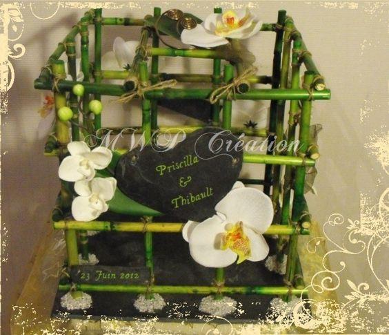 Urne mariage bambou orchid e mod le de priscilla et thibault mariage - Deco mariage orchidee ...