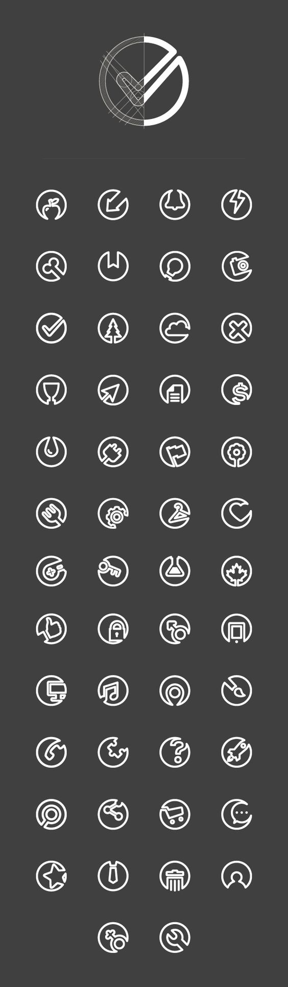 Here are some simple icon designs. I like how easy clean they are and each one has a specific opening to it that allows the icon to be a part of the background. I also like how they are all see through and tie in well the background also.