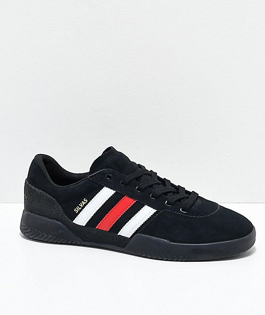 adidas City Cup Silvas Black, White & Red Shoes | Red shoes