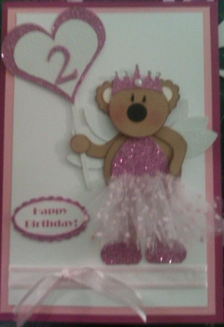 Handmade Bear Birthday Card - for 2 year old girl