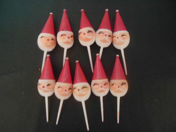 Vintage Christmas Santa Claus Plastic Cupcake Toppers Picks set of 10