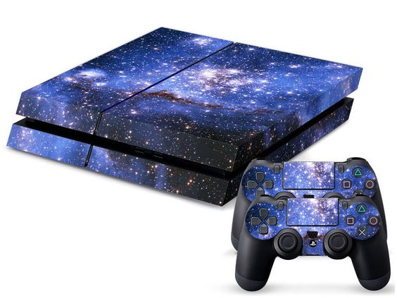 blue deep space sticker for playstation 4 ps4 console 2 controller skins gaming playstation. Black Bedroom Furniture Sets. Home Design Ideas