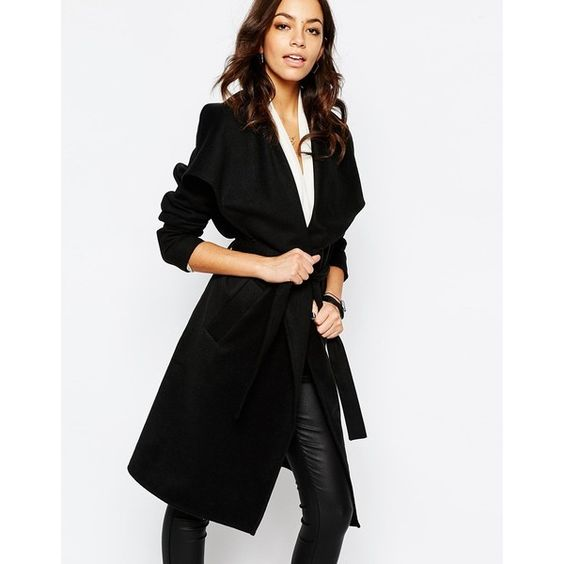 J.D.Y Wrap Belted Coat (€53) ❤ liked on Polyvore featuring