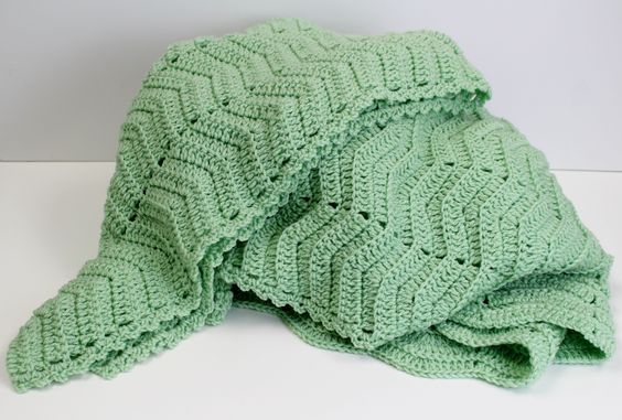 I like the easy edging that goes only on the long sides. Edging is: (sc, ch 3, sc) in the same space. Space evenly down the sides (or all the way around if using on a non-ripple blanket)