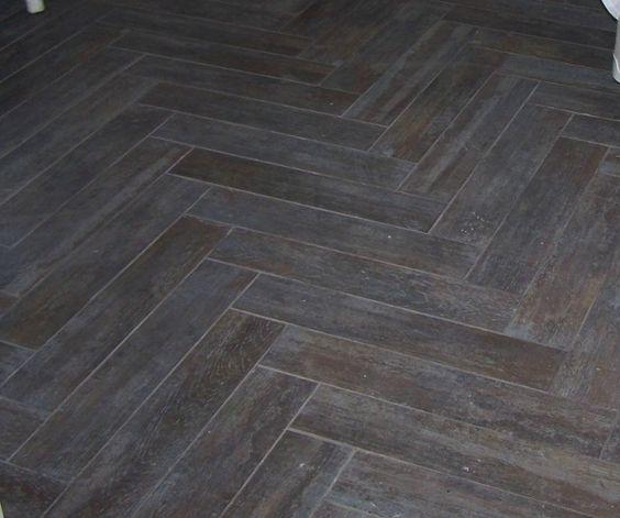 Lighting Basement Washroom Stairs: Herringbone Wood-look Tiles