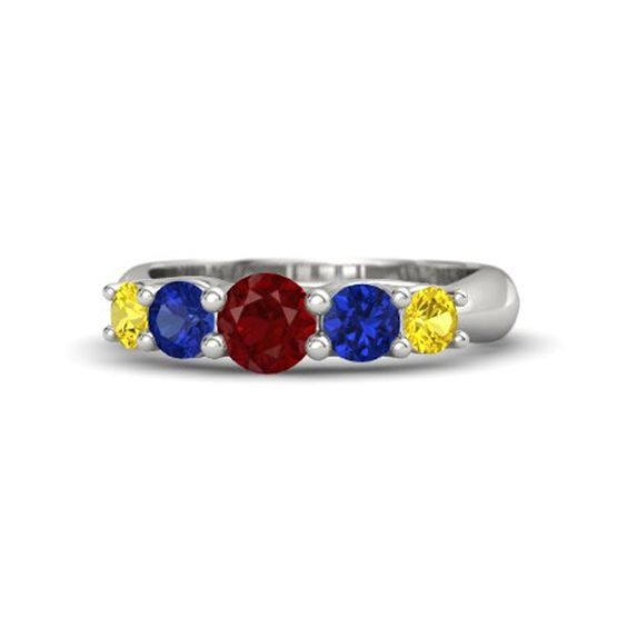 Pin for Later: 19 Royally Gorgeous Engagement Rings Fit For a Disney Princess Snow White Round-cut ruby, blue, and yellow sapphire ring ($1,475)