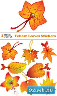 Yellow Leaves Stickers Vector
