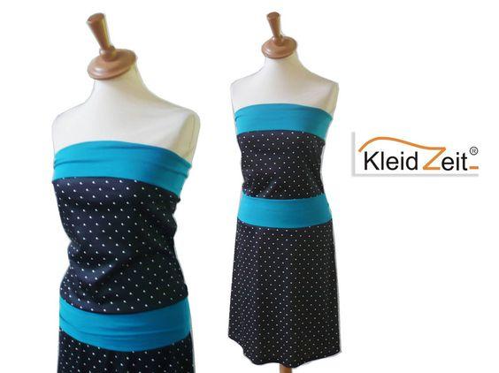 Bandeaukleid S Punkte schwarz weiß türkis von kleidzeit ® auf DaWanda.com  http://de.dawanda.com/product/63115719-Bandeaukleid-S-Punkte-schwarz-weiss-tuerkis