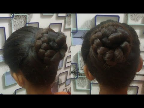 New Bun Hairstyle For Wadding Functions Easy And Cute Hairstyle In Kannada Bunhairstyle E In 2020 Cute Simple Hairstyles Bun Hairstyles Cute Hairstyles
