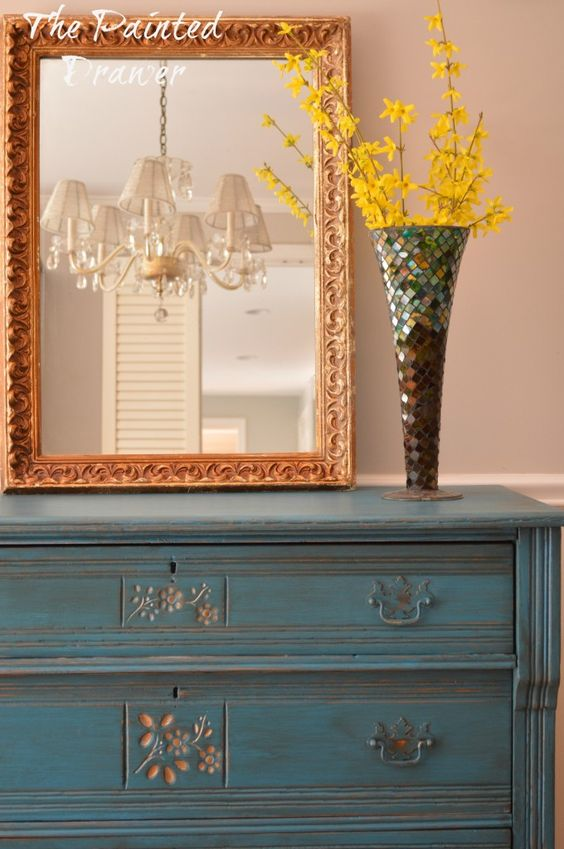Antique Gold Flower Dresser | The Painted Drawer