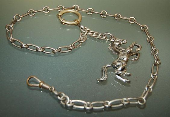 WUNDERSCHÖNE TASCHENUHRKETTE 800 er SILBER MIT CHARIVARI PFERD UHRENKETTE   eBay