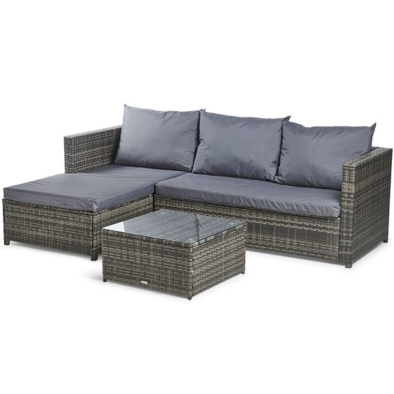 Vonhaus Rattan Corner Sofa Set Large Conservatory Garden Patio Set With Cushions Armrests Glass Corner Sofa Set Rattan Corner Sofa Rattan Furniture Set
