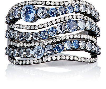 anel ondas azul rodio negro top100 semijoias