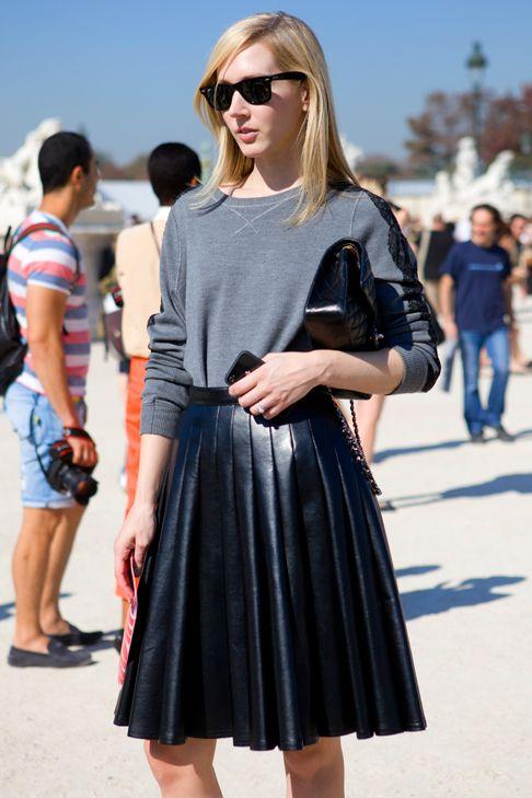 #leather pleated skirt