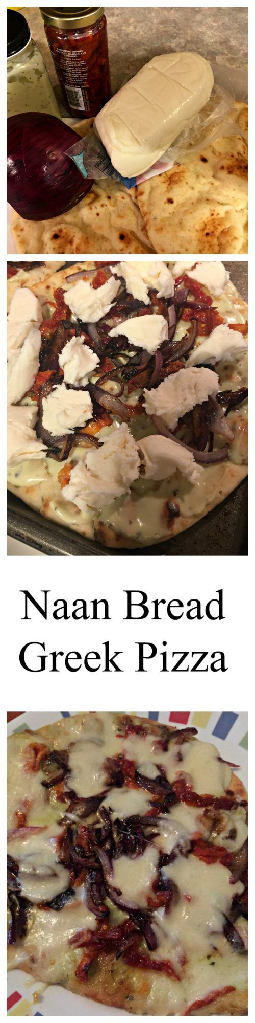 Naan Bread Greek Pizza is great for Race Day or any time you need an easy and delicious quick meal or snack.