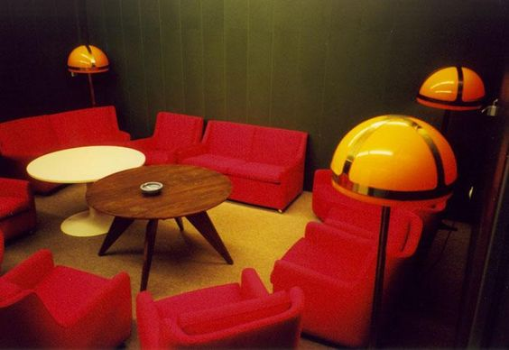 The meeting room of the federal President in the decommissioned Regierungsbunker, a vast protective complex built between 1960 and 1972 to provide war-time accommodation and shelter from nuclear fallout for the democratic German government, Ahr Valley, West Germany, 1967. photograph by Jörg Diester.