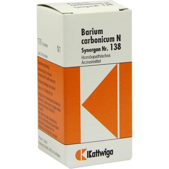 SYNERGON 138 Barium carbonicum N Tabletten:   Packungsinhalt: 100 St Tabletten PZN: 04905241 Hersteller: Kattwiga Arzneimittel GmbH…