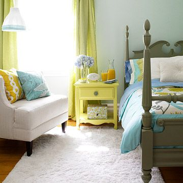 I like this because the colors are unique. You don't see olive mixed with aqua much, and then when you add the yellow, it all works together in an interesting way. This is a cozy inviting guest room. :)