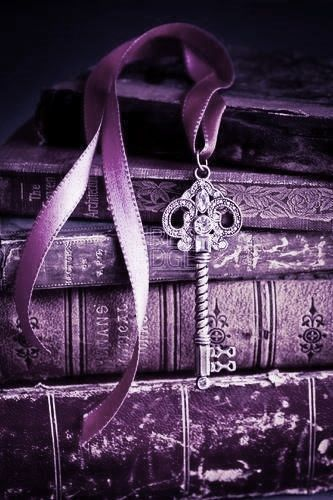 Purple Vintage Books with a Key Bookmarker: