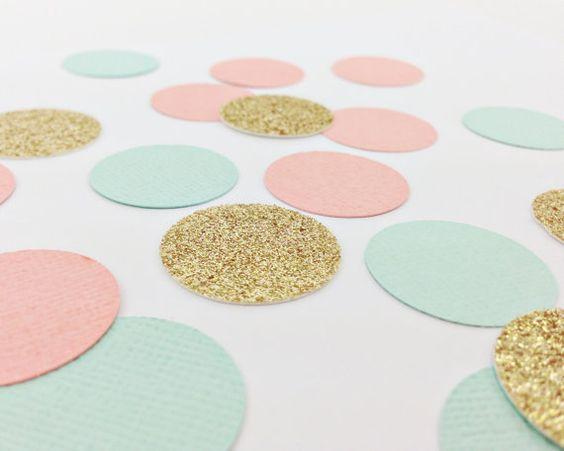 """150 leichte Minze + Gold Glitter + Koralle Konfetti - 1""""- Hochzeit, Geburtstag, Bachelorette, Bridal Shower, Baby-Dusche"""