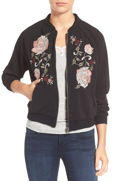 Wit & Wisdom Wit & Wisdom Floral Embroidered Bomber Jacket (Nordstrom Exclusive) available at #Nordstrom