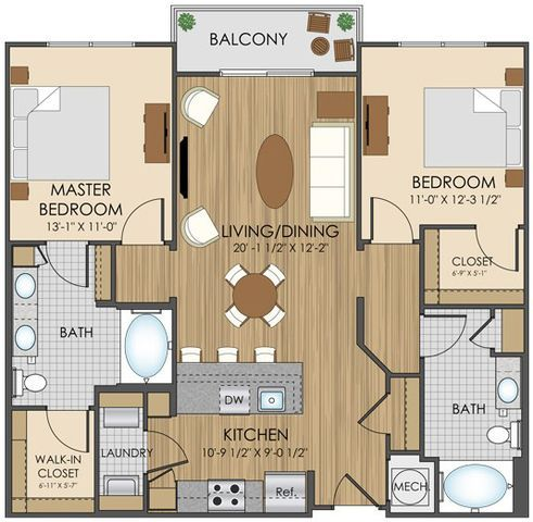 Bedroom Floor Plan At Student Apartments In Charlotte House