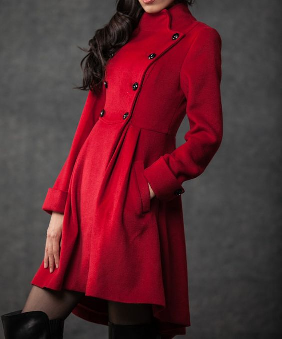 Red Military Coat - Fit-and-Flare Cashmere Wool Swing Coat with ...