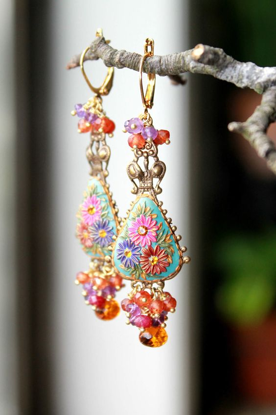 Gemstone cluster - Amethyst, coral, Ruby , Andalusite ,mexican Opal quartz gold earrings - Confetti.: