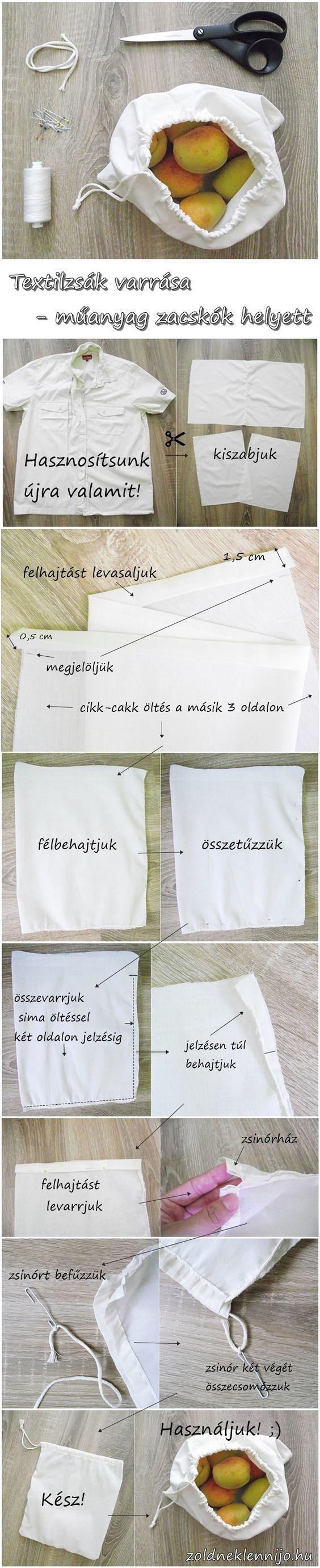 A műanyagmentes július egyik legfontosabb kelléke a textilzsák, amit akár te magad is megvarrhatsz! Akár használt ruhából is készülhet, így a legzöldebb. Mutatom, hogyan varrd meg!