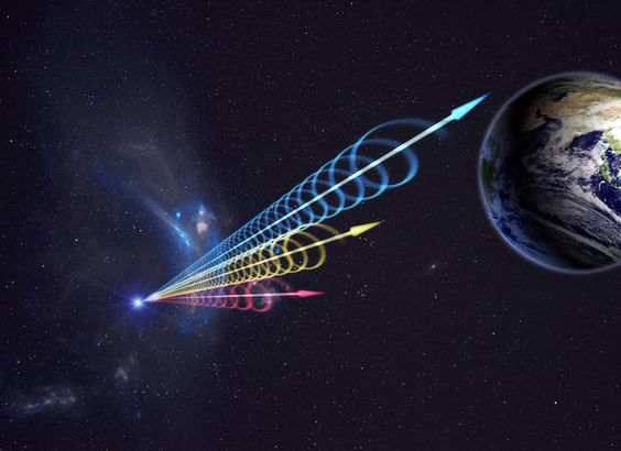 An artist's illustration of emissions from a fast radio burst reaching Earth. The different colors signify different wavelengths of light.