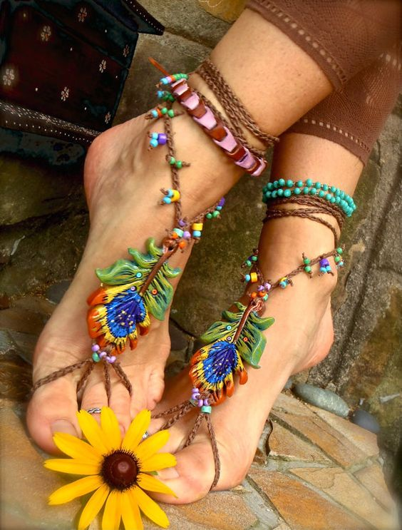 PEACOCK BAREFOOT sandals: Barefoot Shoes, Foot Jewelry, Barefoot Sandals, Color Schemes, General Color, Beach Weddings, Feet Jewelry