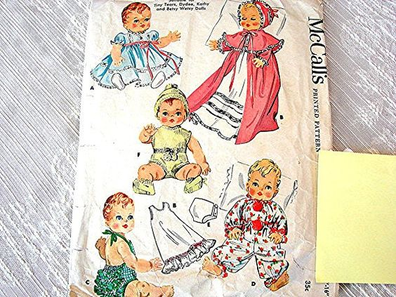 1950s Vintage Baby Doll Clothes Pattern McCalls size 15 to 16 inch Dolls fits Dydee Betsy Wetsy Tiny Tears dolls Sewing Pattern view on Etsy by PatternsFromThePast