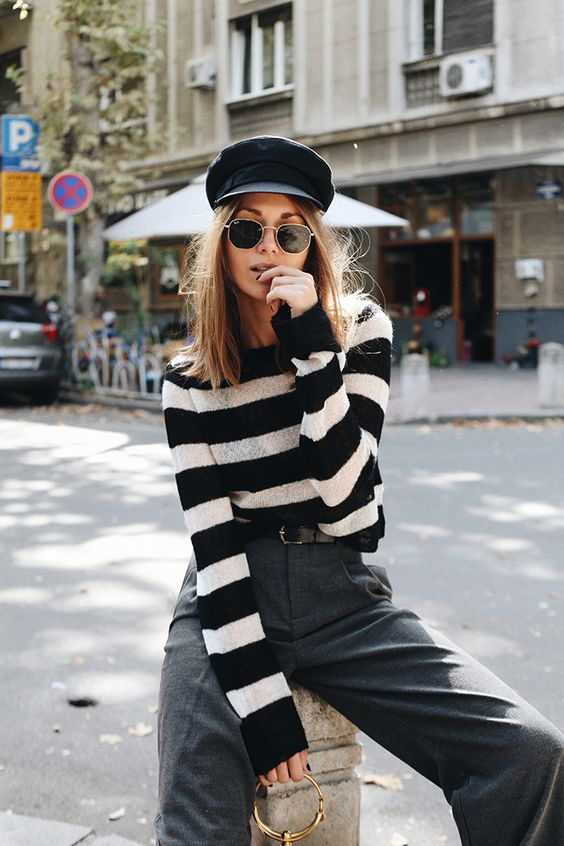 Stripes, tailored pants & cap