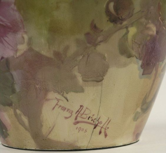 Lot:2060: Franz Bischoff floral decorated vase, Lot Number:2060, Starting Bid:$3000, Auctioneer:Clars Auction Gallery, Auction:2060: Franz Bischoff floral decorated vase, Date:06:00 AM PT - Apr 2nd, 2006