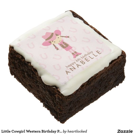 Little Cowgirl Western Birthday Party Chocolate Brownie