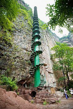 The spiral staircase, Taihang Grand Canyon, Linzhou, Henan Province, China