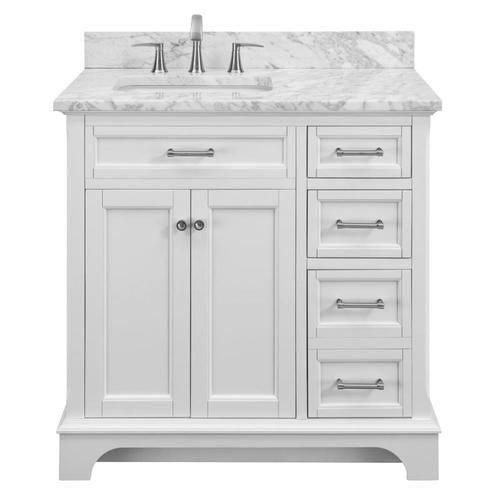 Allen + Roth Roveland 36-in White Undermount Single Sink Bathroom Vanity  With Natural Carrara Marble Top Lowes.com 36 Inch Bathroom Vanity, White  Vanity Bathroom, Bathroom Vanity