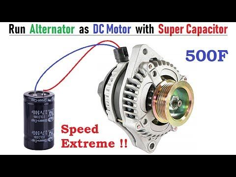Run 12v 120 Amps Car Alternator As Brushless Dc Motor With 500f Super Capacitor Bldc Controller Youtube Car Alternator Alternator Electric Motor For Car