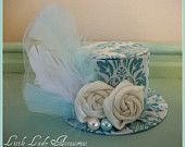 Mini Top Hat  Alice in Wonderland  Teal Damask  Birthday Hat Photography Prop