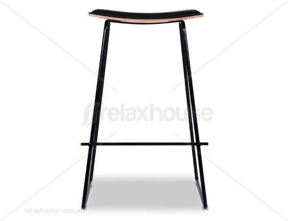 Yvonne Potter Y Design Timber Counter Stool Replica - Black Frame / Black Padded Seat
