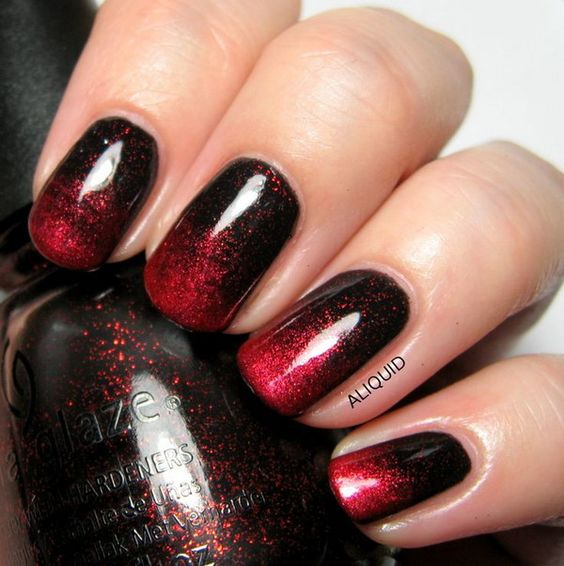 Red and Black Ombre Nail Art Design. https://noahxnw.tumblr.com/post/160992256041/looks-so-delicious