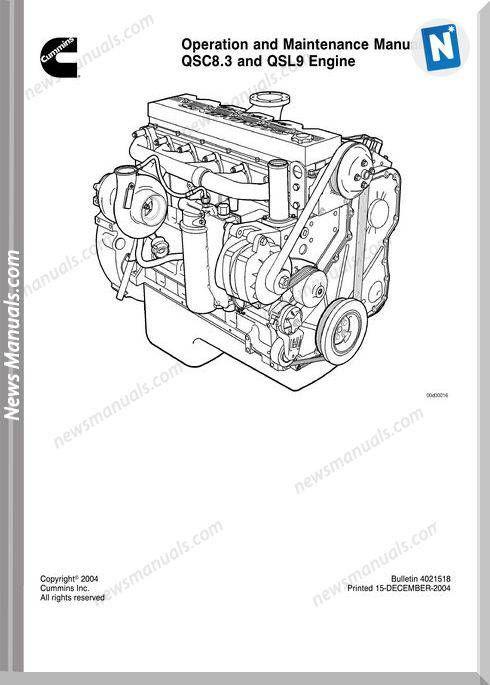 Cummins Engine Qsc8 3 Qsl9 Operation Maintenance Manual Cummins