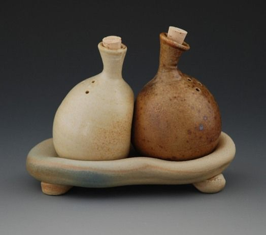 Salt and Pepper, Strictly Functional Pottery National 2010, salt-fired light and dark stoneware