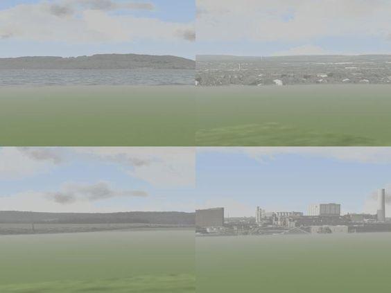 Vier Horizonte 360° mit verschiedenen Panoramen