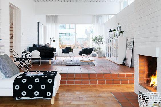 up down: Interior Design, White Bricks, Painted Bricks, Dream House, House Livingroom, Living Room, White Interiors