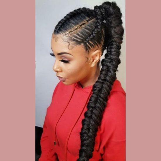 Fishtail Braids For Black Women Fishtailbraids Fishtail Braids Braidedhairstyles Africana Natural Hair Styles Braided Ponytail Hairstyles Long Hair Styles