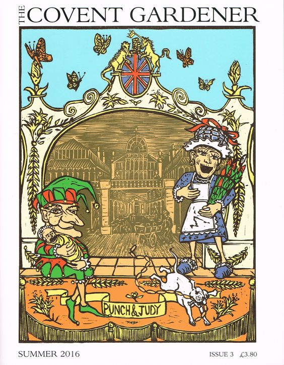 Tobias Till created the cover for the Summer 2016 edition of The Covent Gardener magazine.  The scene depicts Punch and Judy in London's Covent Garden Market. Adam Dant has also created the map of the area in the back of the magazine depicting the historial and fun figures from The Moomins to Jane Austen.  #TAGFineArts #TheCoventGardener #Magazine #TobiasTill #Linocut #Punch&Judy #CoventGarden #Market #London