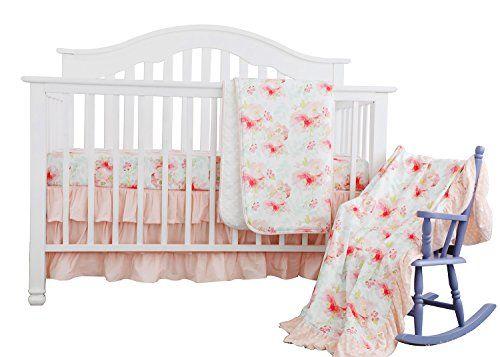 Sahaler Blush Mint Girls Crib Bedding Set Boho Bohemian Floral